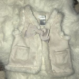 Faux Fur Lined Suede Vest Girls 12M Like New
